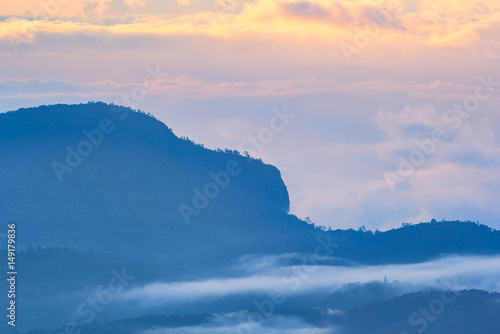 Aluminium Prints Blue Beautiful Colorful Sunrise and Silhouette Mountain on the top of mountain in Thailand