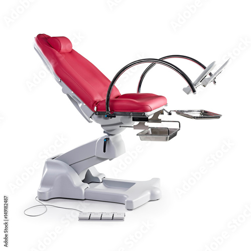 Gynecological Examination Chair Isolated On White Background. Gynaecology  Table. Examination Table For Obstetrics And