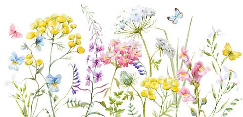 Panel Szklany Do kuchni Watercolor wild flowers