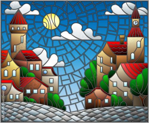 ilustracja-w-stylu-witrazu-krajobraz-miejski-dachy-i-drzewa-na-dzien-niebo-i