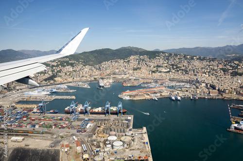 Tuinposter Dubai Aerial view of Genoa city in italy