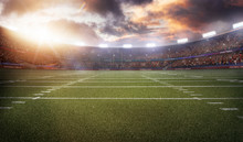 American Football Stadium 3D In Light Rays Render