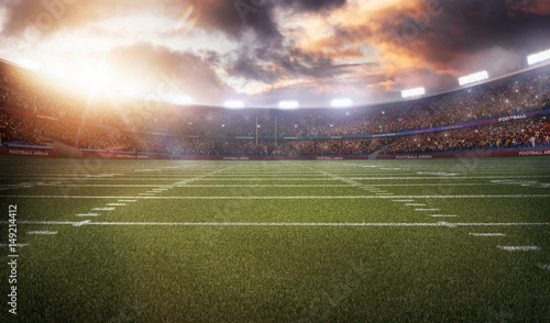 american football stadium 3D in light rays render Canvas-taulu