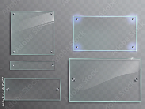 Fototapeta Vector illustration set of transparent glass plates, panels with metal accessories isolated on translucent background obraz