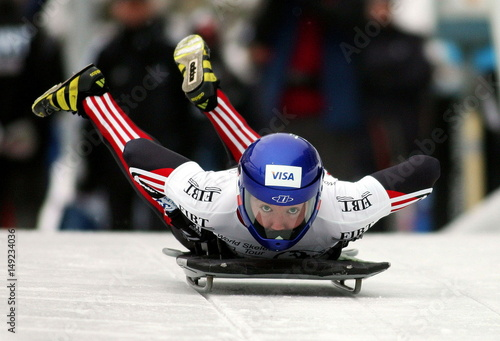 Canada's Carla Paven speeds down the track during her first run of