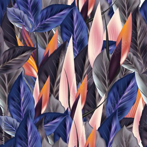 piekny-tropikalny-wzor-z-niebieskimi-i-pomaranczowymi-liscmi