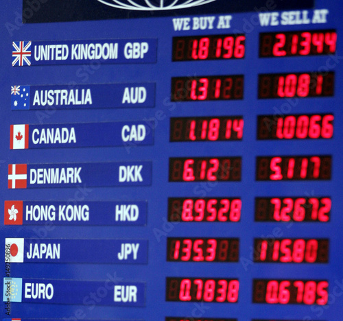 Currency Exchange Rates Are Shown At Money Site In New York