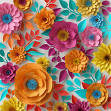 Fototapeta Kwiaty - 3d render, digital illustration, colorful paper flowers wallpaper, spring summer background, floral bouquet isolated on white, vibrant colors, mint pink orange yellow