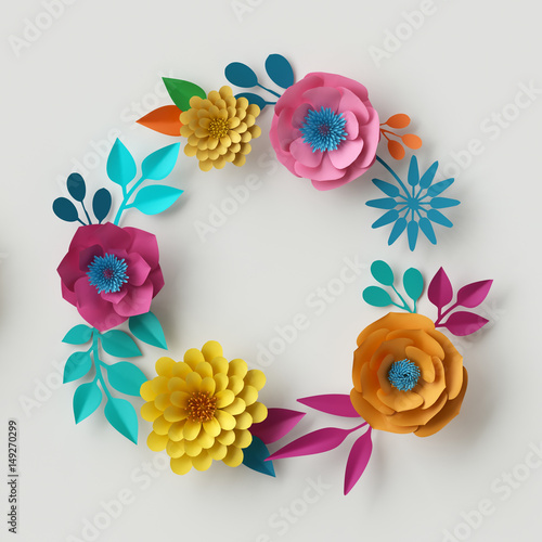 3d Render Digital Illustration Abstract Frame Colorful Paper Flowers Round Wreath
