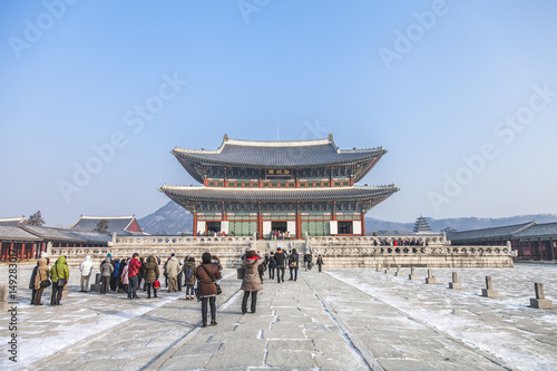 Photo Stands SEOUL, SOUTH KOREA - 17 Jan 2017 : Gyeongbokgung palace, famous destination ancient traditional korean style palace for tourists in Seoul, South Korea