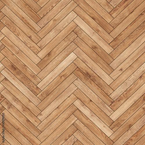 Obraz Seamless wood parquet texture (herringbone light brown) - fototapety do salonu