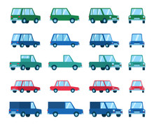 Set Of Various Car Types And Views. Hatchback, Sedan, Family Car. Flat Style Vector Illustration