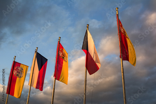 National flag of Czech Republic and Flag with coat of arms of City of Prague Poster