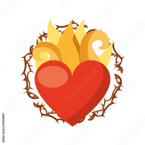 Fényképezés virgin mary heart with flames vector illustration design
