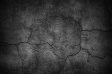 Cracked Black Concrete Wall, G...