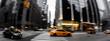 canvas print picture - Straßenverkehr in New York City - Gelbe Taxi, Bewegungsunschärfe