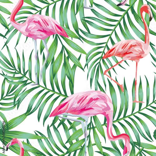Fototapeta flamingi na tle z egzotycznych liści