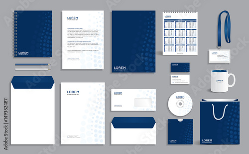 Fototapeta Corporate identity design template with blue circles background obraz