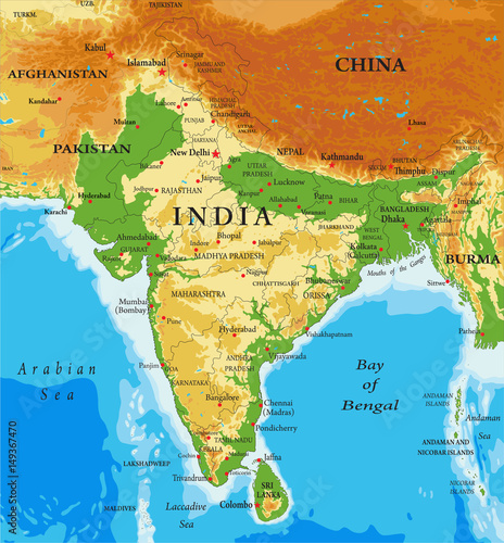 Physical map of India - Buy this stock illustration and explore ...