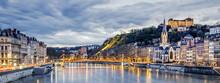 Saone River In Lyon City At Ev...