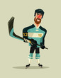 Happy smiling hockey player character mascot. Vector flat cartoon illustration