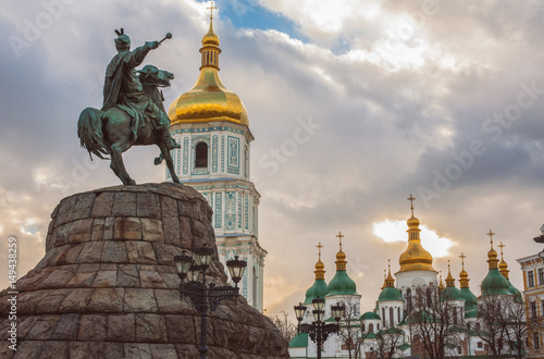 Foto op Canvas Kiev Bohdan Khmelnytsky Monument, Saint Sophia Cathedral, view from Sophia square. Kiev, Ukraine
