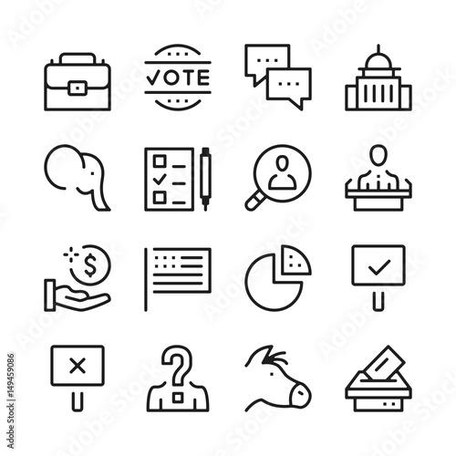 Fotografie, Tablou  Elections line icons set