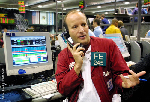 Edwin Linker Works At An Electronic Trading Terminal In The Nasdaq