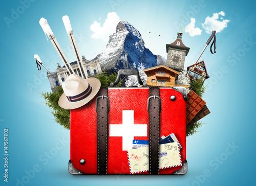Plakat Szwajcaria, retro walizka z zabytkami Szwajcarii