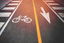 Bicycle Lane On Day Noon Light.
