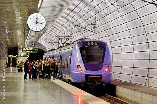 Photo Stands Train Station Triangeln railway station, Malmö in Sweden
