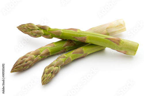 Photo  Eco asparagus on white background. Fresh vegetables.