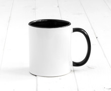 Simple White Cup With Black Inside And Handle On A Planked Table