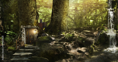 Plakat Mieszkać krasnoludy i elfy w magicznym lesie
