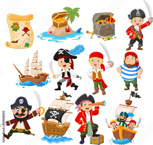 Valokuva  Collection of cartoon pirate