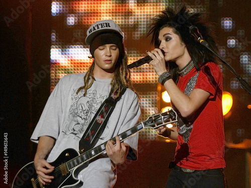 Tom and Bill Kaulitz of German rock band Tokio Hotel perform