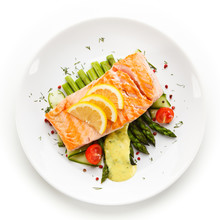 Grilled Salmon With French Fri...
