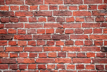 Detailed Red Brick Background. Wall Of Red Damaged Blocks. Dirty Stone Pattern