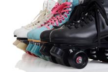 Closeup Row Of Quad Roller Skates