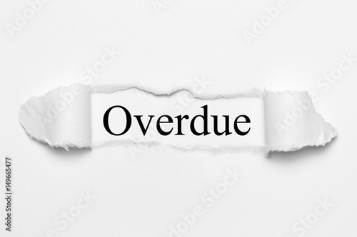 Overdue on white torn paper Wallpaper Mural