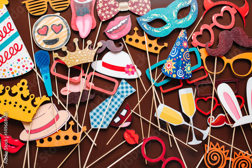 Fototapeta Set of photo accessories for wedding and birthday parties obraz na płótnie