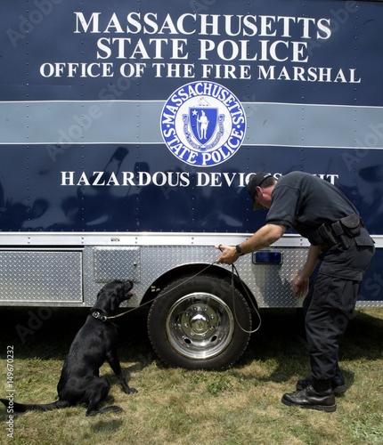 Bomb Sniffing Dog Points to Explosive Scent During