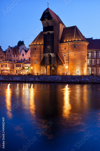 Fototapety, obrazy: The Crane in City of Gdansk at Night in Poland