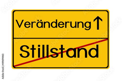 Foto  VeränderungStillstand Abbildung Ortsschild Ortseingangschild