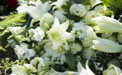 white funeral flowers