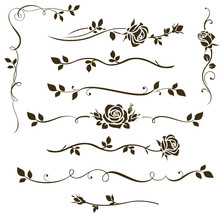 Vector Set Of Floral Dividers,...