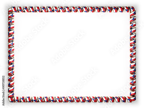 Photo  Frame and border of ribbon with the Czech Republic flag, edging from the golden rope