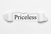 Priceless On White Torn Paper