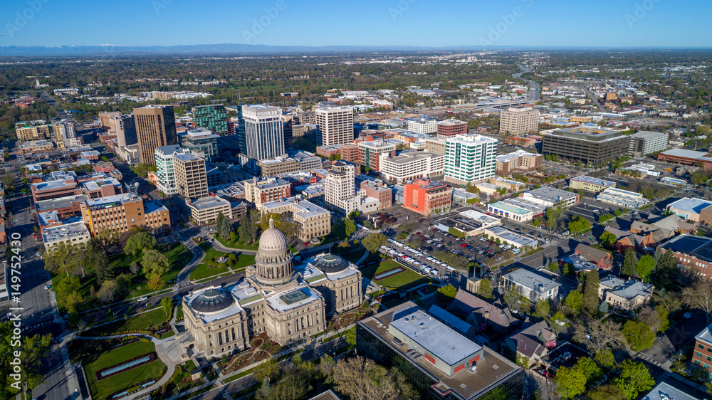 Fototapety, obrazy: View of Boise Idaho from above with the capital