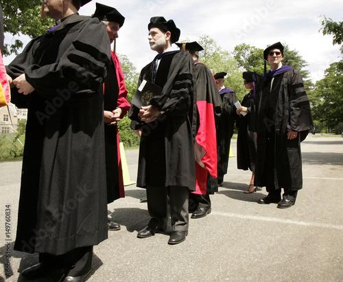 Federal Reserve Chairman Bernanke waits in procession line at Boston